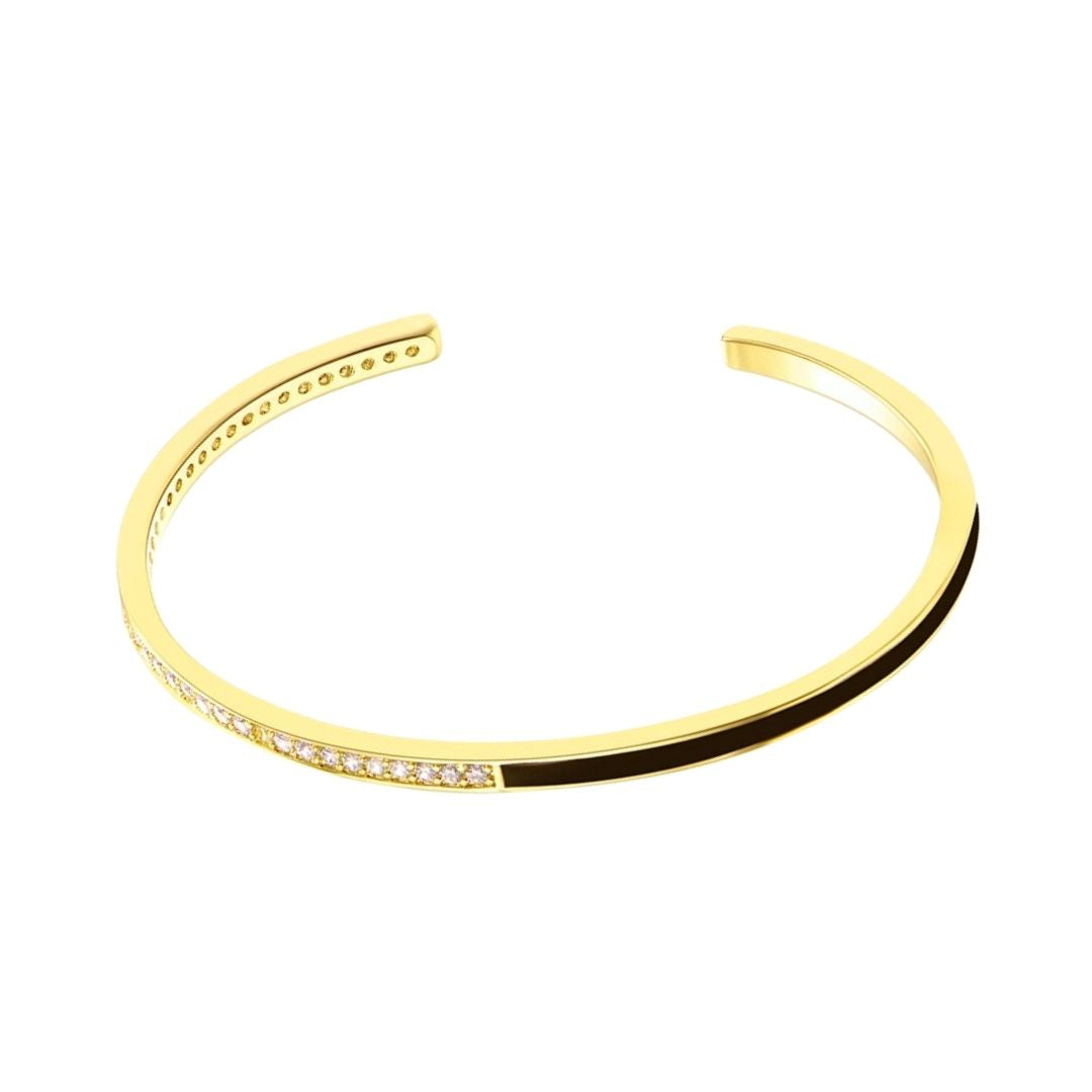 Black rigid bracelet with zirconia Gold