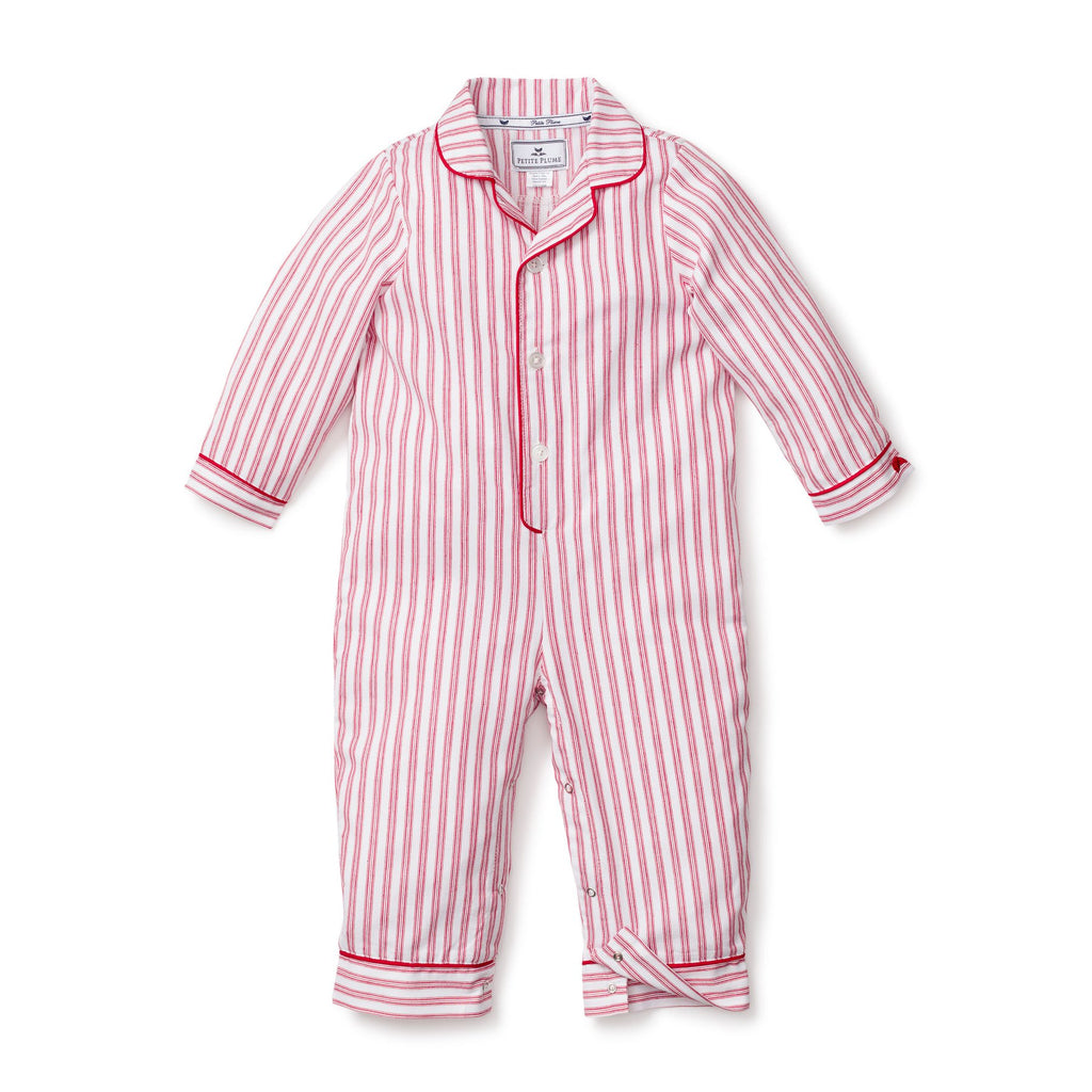 Petite Plume Antique Red Ticking Romper