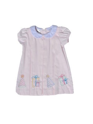 Lulu Bebe Dana Pink Embroidered Birthday Dress
