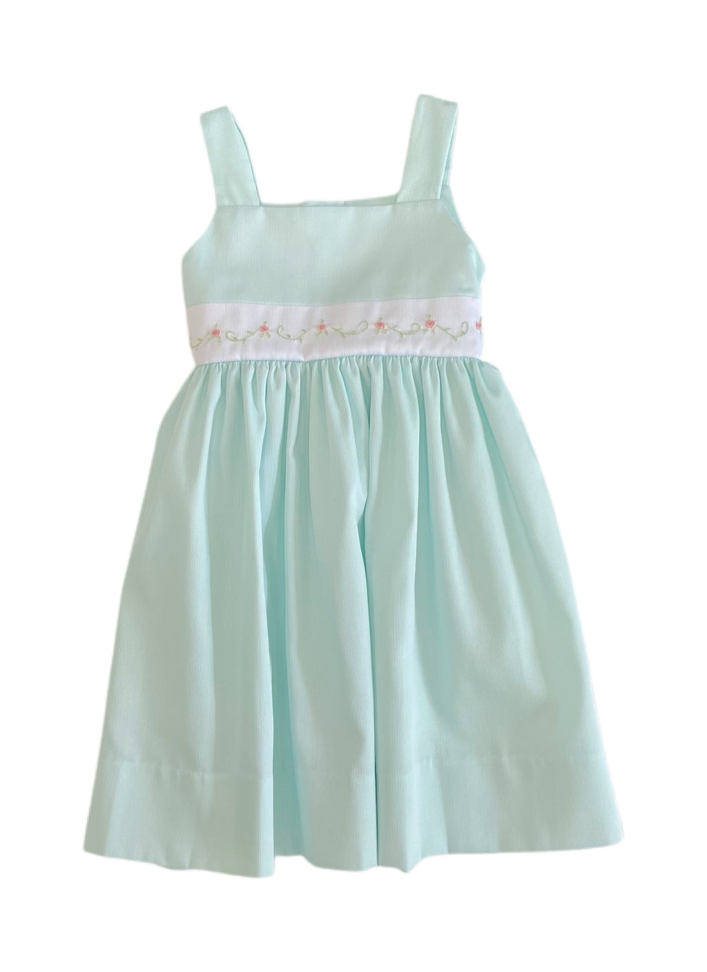 Lulu Bebe Jackie Mint Embroidered Waist Dress