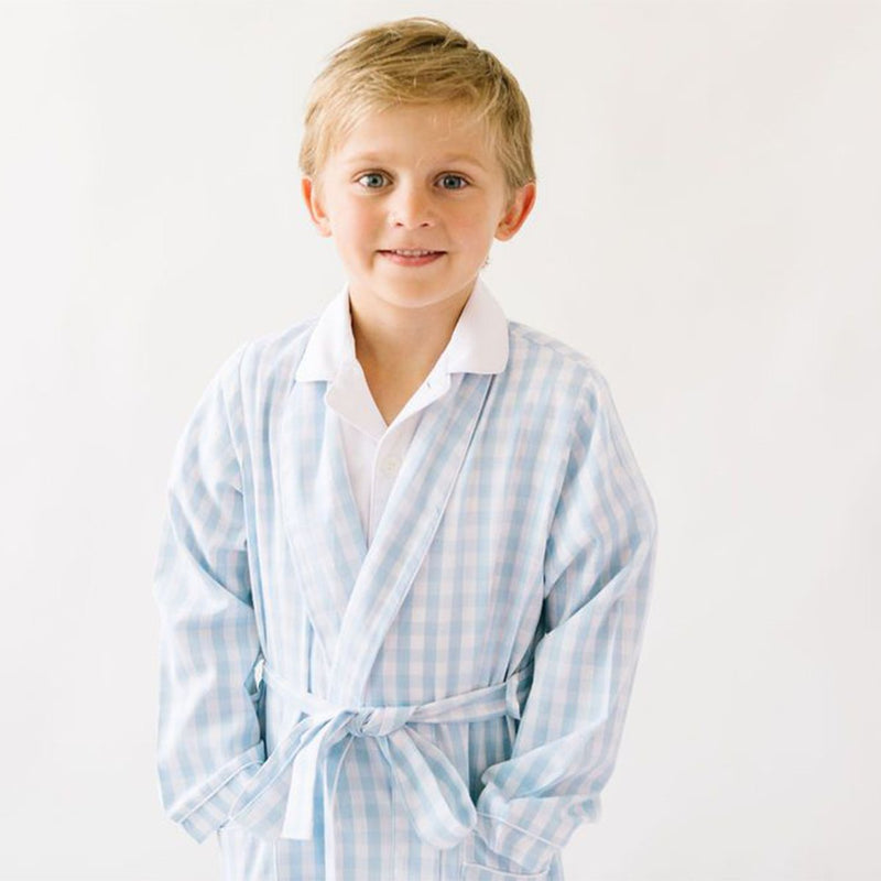 Petite Plume Light Blue Gingham Robe