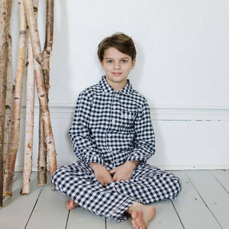 Petite Plume Classic Navy Gingham Flannel Pajama Set