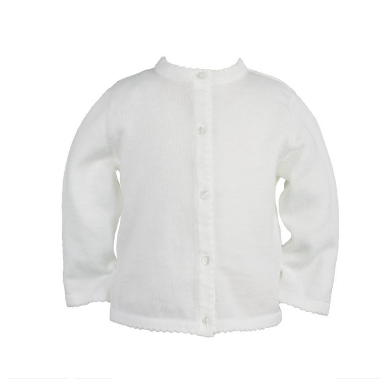 Petit Ami White Scallop Sweater