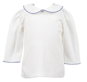 The Proper Peony Royal Blue Trim Elbow Sleeve Top