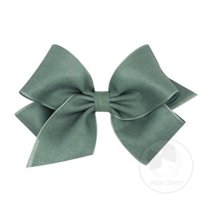 Wee Ones Bows King Canvas Linen & Satin Overlay Bow