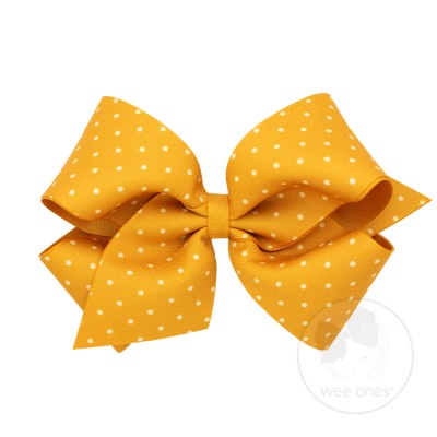 Wee Ones Bows King Gold Dot Print Grosgrain Bow