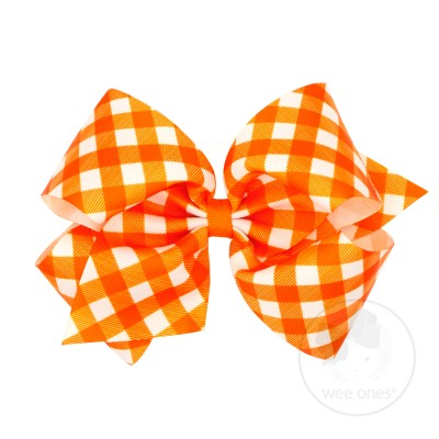 Wee Ones Bows King Orange Check Grosgrain Bow