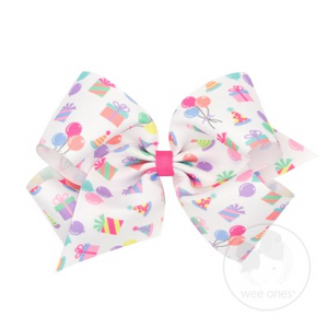 Wee Ones Bows King Party Print Grosgrain Bow