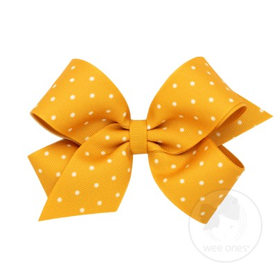 Wee Ones Bows Medium Gold Dot Print Grosgrain Bow