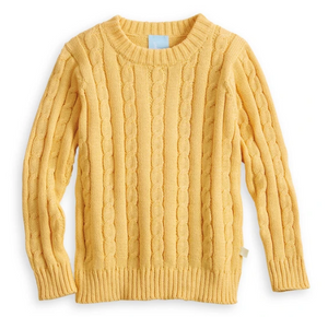 Bella Bliss Yellow Cable Knit Pullover
