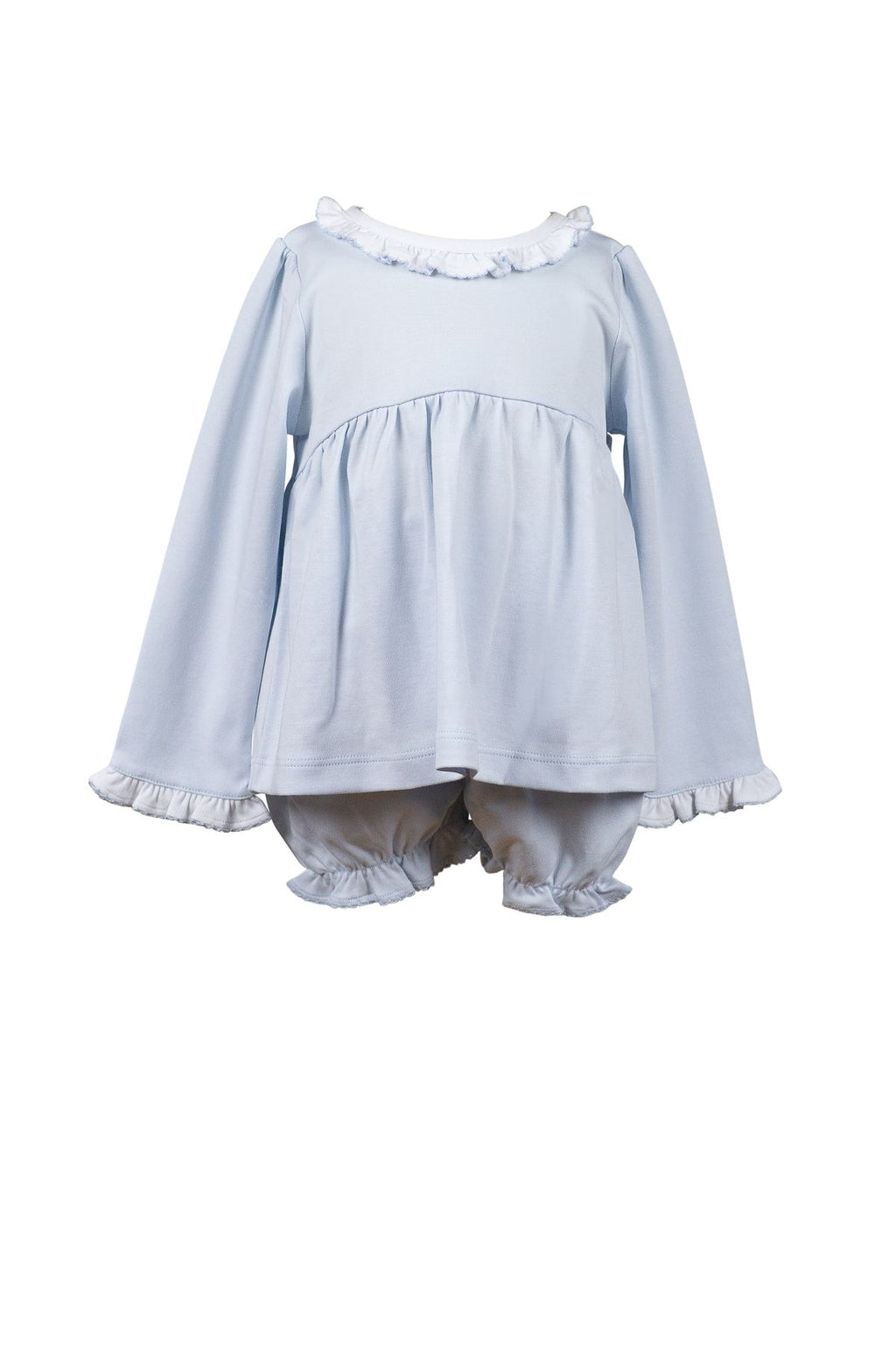 The Proper Peony Soft Blue Ruffle Bloomer Set