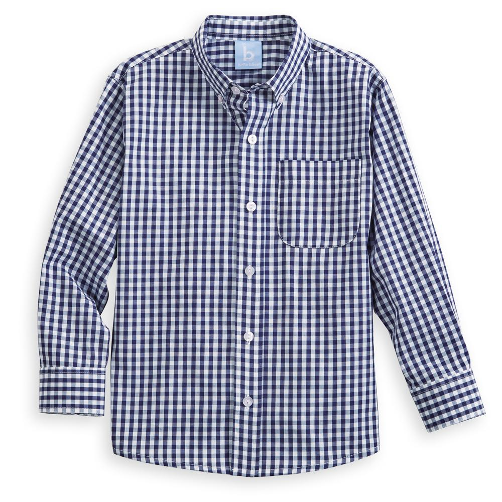Bella Bliss Navy Check Buttondown Shirt