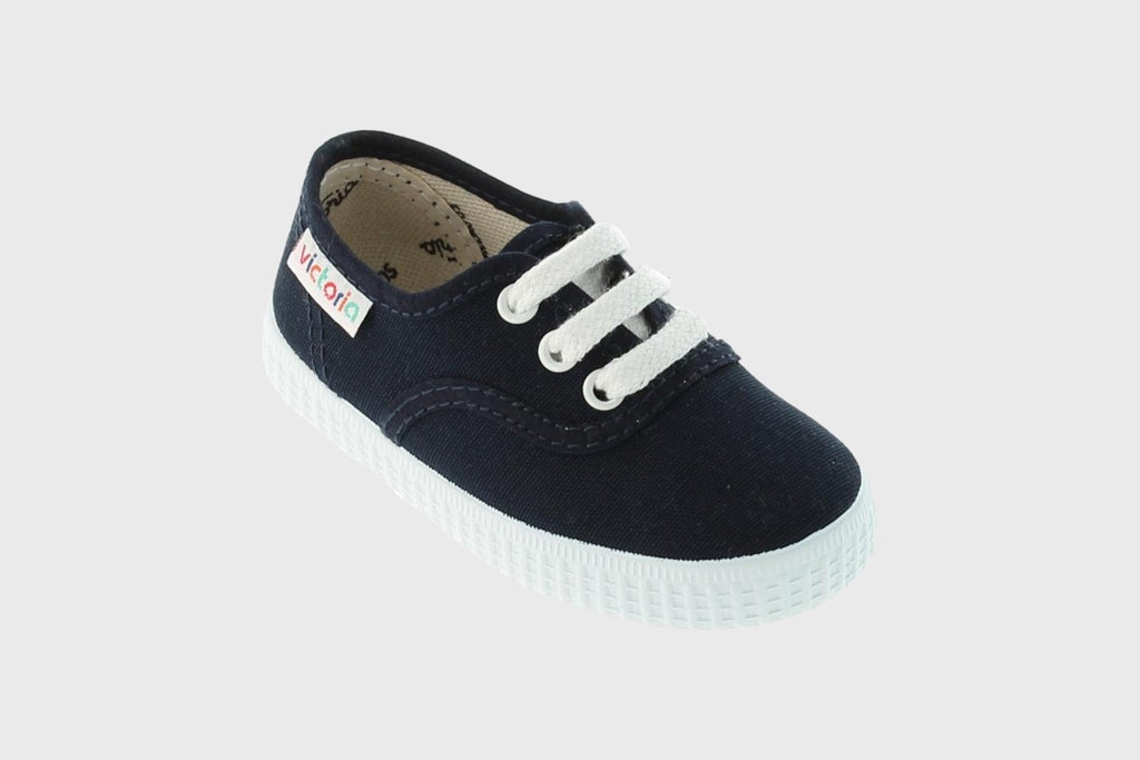 Victoria Lace Up Canvas Navy