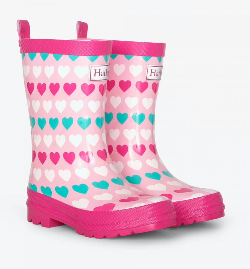 Hatley Multicolor Hearts Shiny Rain Boots