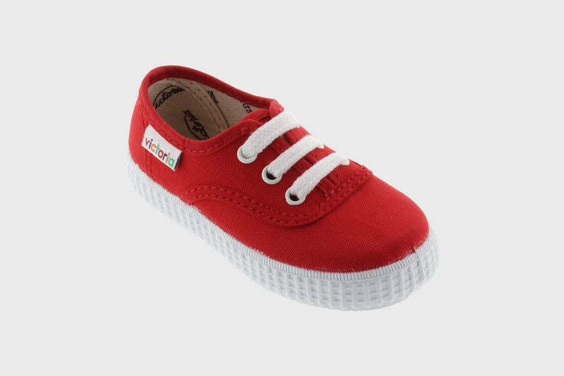 Victoria Kids Red Canvas Lace Up