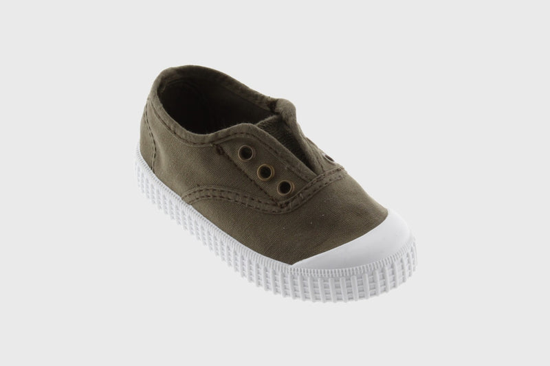 Victoria Military Green Slip-On Canvas Shoe