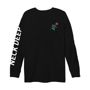 Rose Text Black Long Sleeve Tee