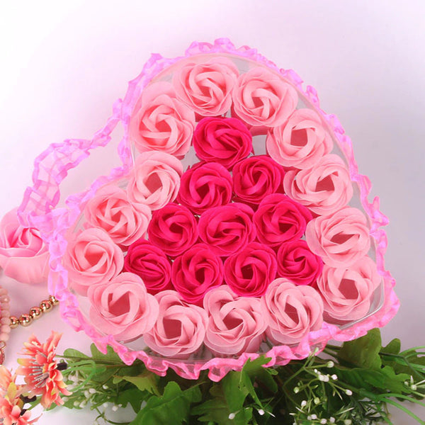 Rose flower soap heart [24pcs]