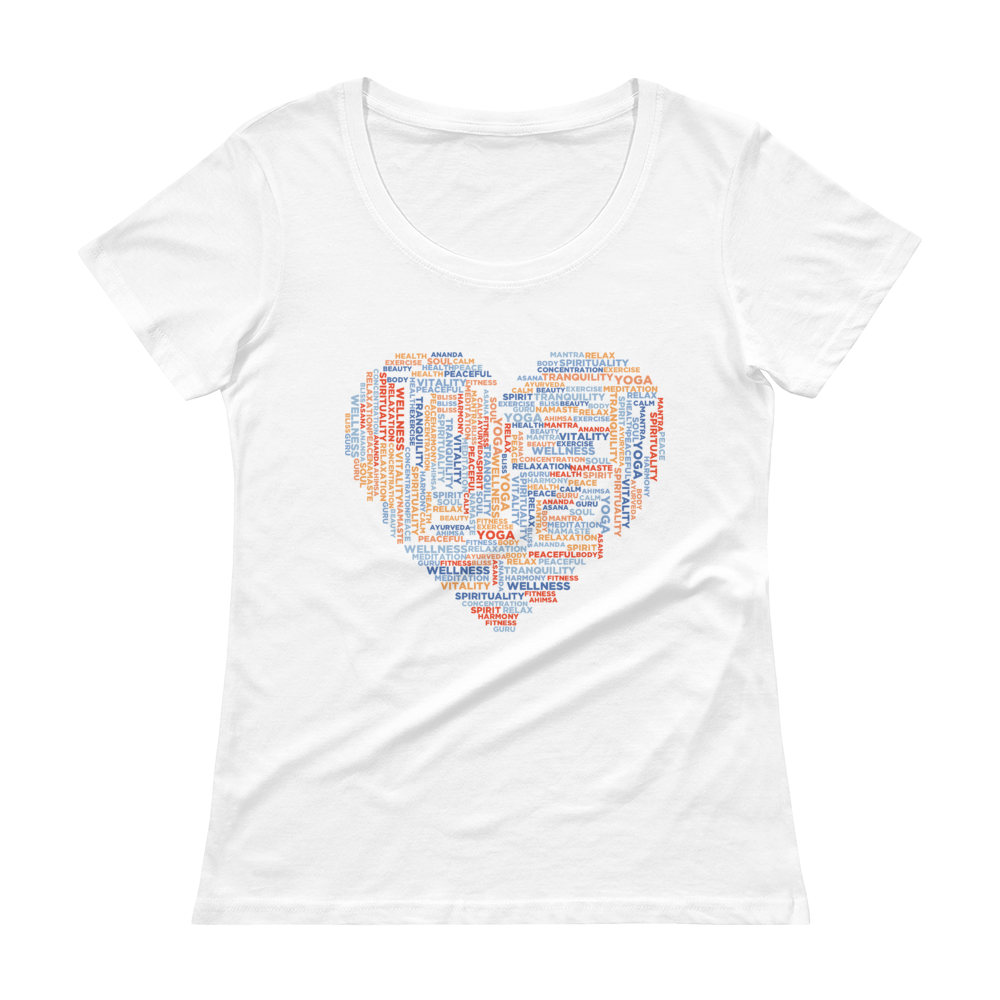 Yoga Typografie Heart - Ladies' Scoopneck