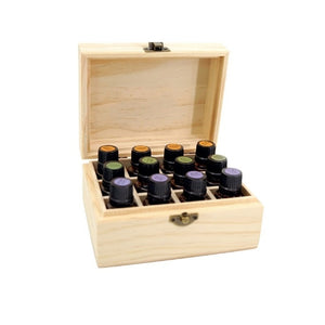 12 compartments wooden essential oil storage box