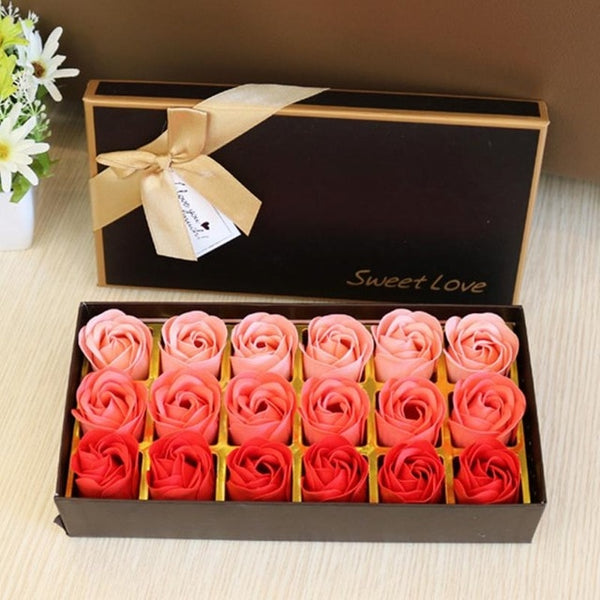 3 colors rose soap with gift box [18pcs]