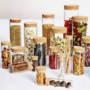 Glass display bottle jar with cork lid [1pc]