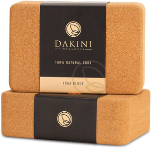 Dakini Wellness Cork Yoga Block 2 Pack with Yoga Strap Set - Non-Slip Yoga Blocks with Stretching Strap for Flexibility - 9x6x3 inch - Yoga Props and Accessories - Dakini Wellness