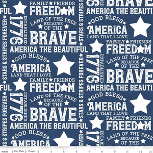 Let Freedom Soar Text Blue