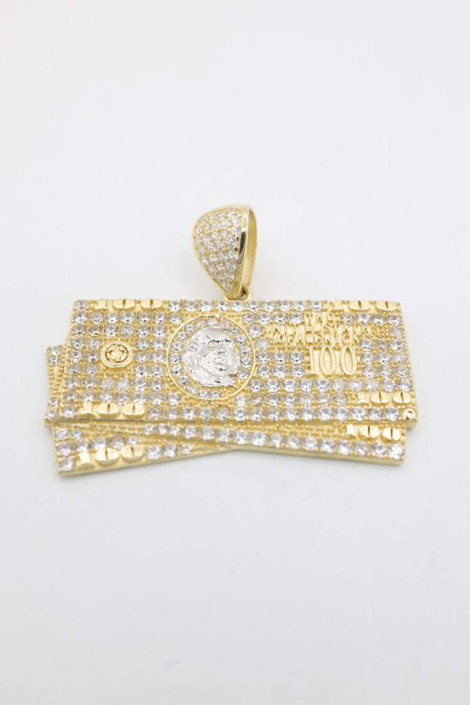 *NEW* 14K $100 Dollar Bills Pendant CZ (Benjamins) JTJ™ - Javierthejeweler