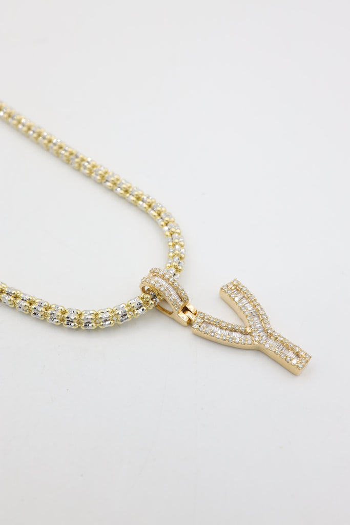 *NEW* 14k Moon Iced Choker With Baguette Diamonds 💎 Letter (Y) Pendant -JTJ™ - - Javierthejeweler