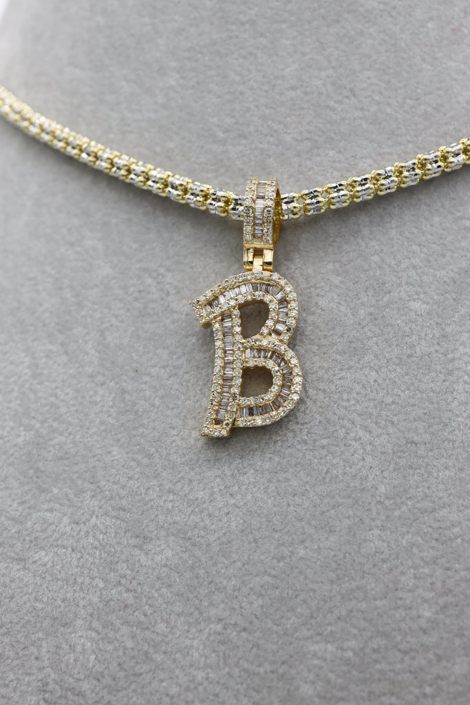 *NEW* 14k Moon Iced Choker With Baguette Diamonds 💎 Letter (B) Pendant -JTJ™ - - Javierthejeweler