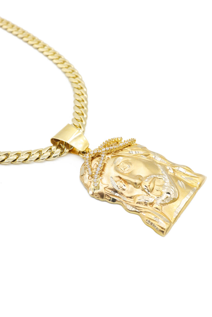 *NEW* 14K Miami SOLID Cuban Chain With Jesus Face Pendant JTJ™- - Javierthejeweler