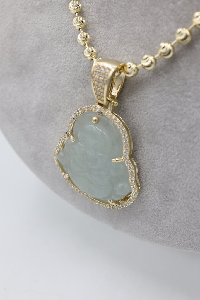 *NEW* 14K Moon Cut Chain W/ White Buddha Pendant JTJ™ - - Javierthejeweler