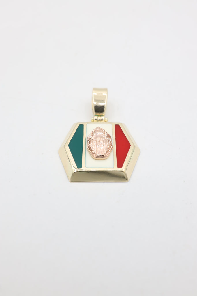 *NEW* 14K Guadalupe Virgin in Mexico Flag Pendant JTJ™ - Javierthejeweler