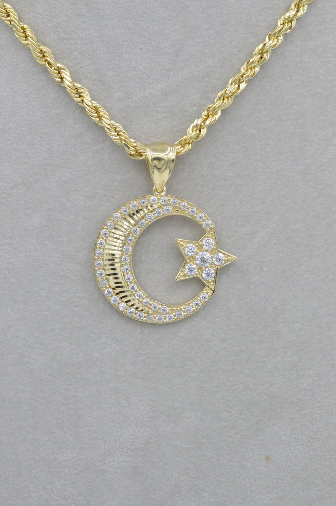 *NEW* 14k Moon & Star Pendant W/ Rope Chain Included - JTJ™ - Javierthejewelernyc
