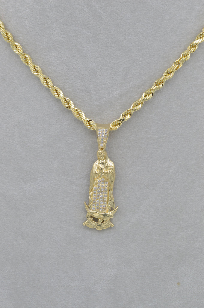 14k Virgin Mary Pendant W/ Rope Chain Included - JTJ™ - Javierthejewelernyc