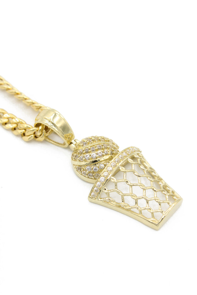 *NEW* 14K Basketball & Hoop Pendant W/ Cuban Link Chain Included  JTJ™ - Javierthejewelernyc