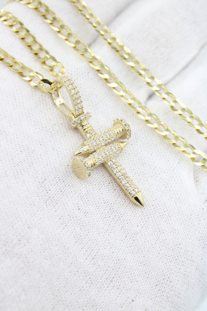 *NEW* 14k Nail Cross Pendant W/ Cuban Link Chain Included - JTJ™ - Javierthejewelernyc