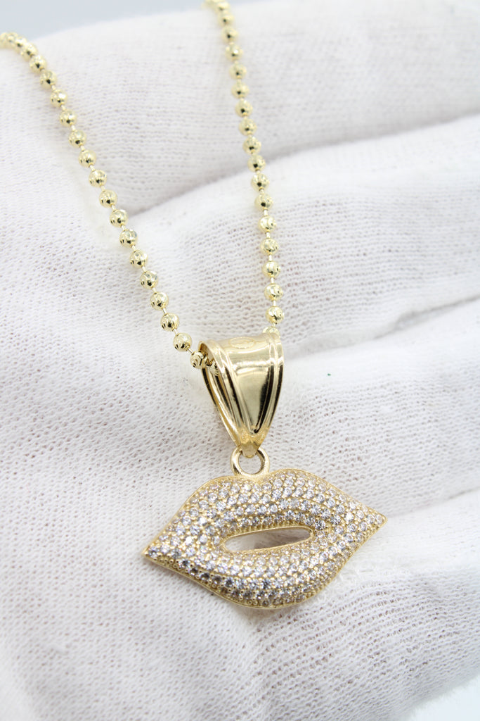 *NEW* 14k Lady's Lip Pendant W/ Moon Cut Chain Included - JTJ™ - Javierthejewelernyc