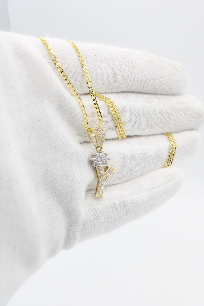 *NEW* 14k Initial Pendant (Y) with Cuban Chain - JTJ™ - Javierthejewelernyc