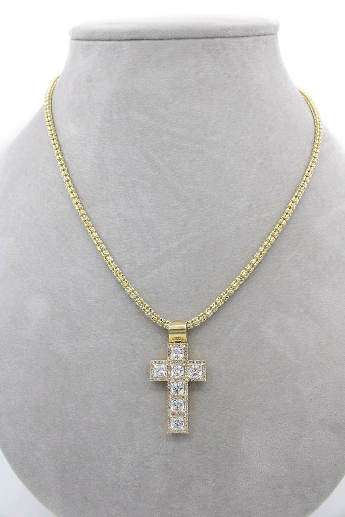 14K Gold Moon Ice Chain With Cross Pendant JTJ™- - Javierthejewelernyc