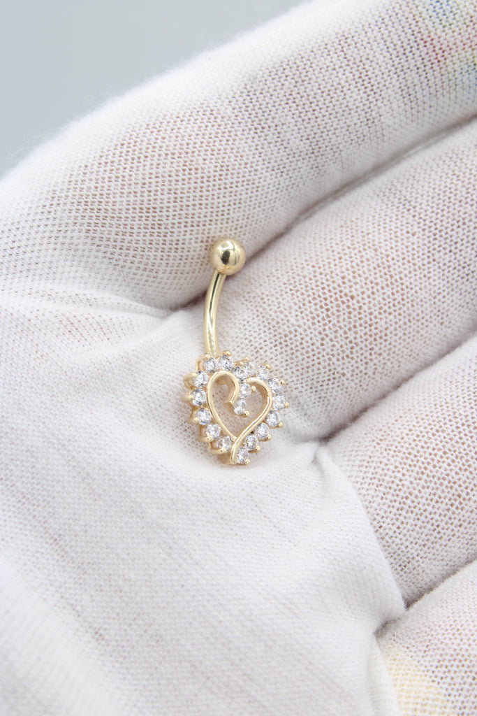 *NEW* 14K CZ Heart Belly Piercing JTJ™ - Javierthejeweler