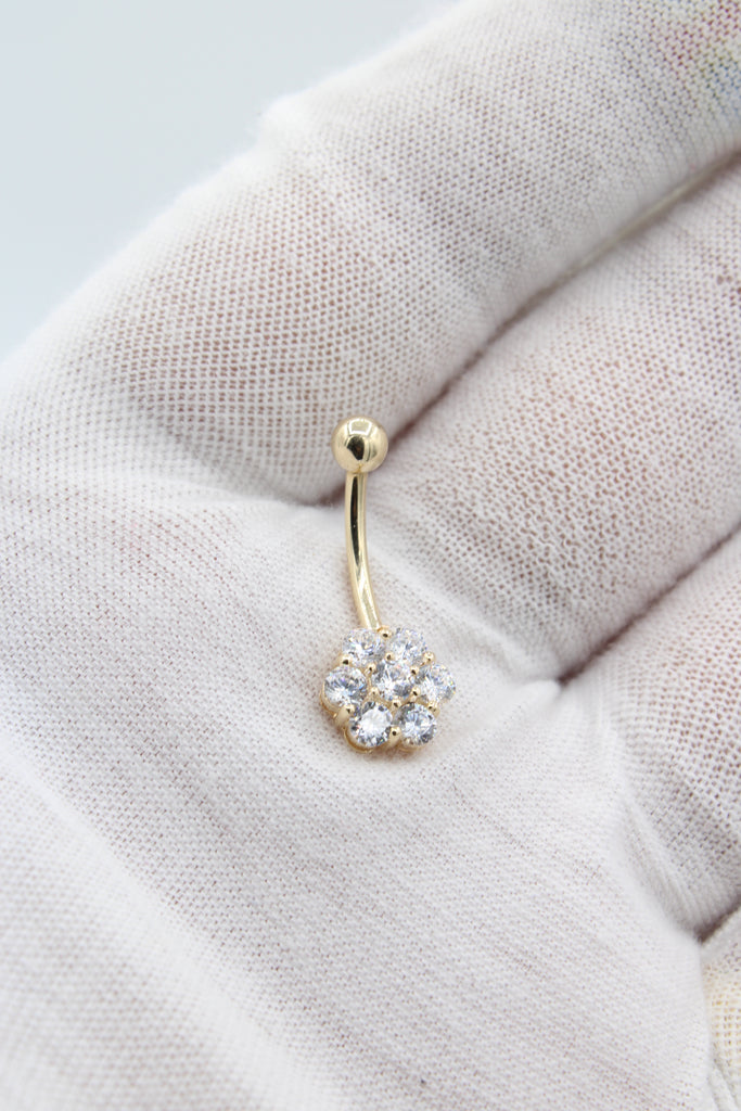*NEW* 14K CZ Flower Cluster Belly Piercing JTJ™ - Javierthejeweler