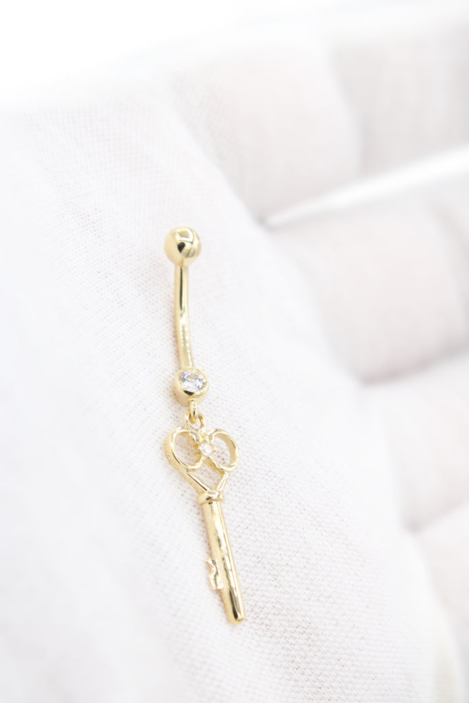 *NEW* 14K CZ Key Belly Piercing JTJ™ - Javierthejeweler