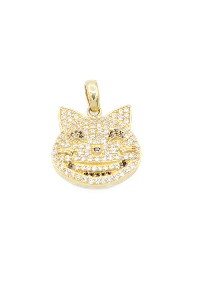*NEW* 14K CZ Cat Face Emoji Pendant - JTJ - Javierthejeweler