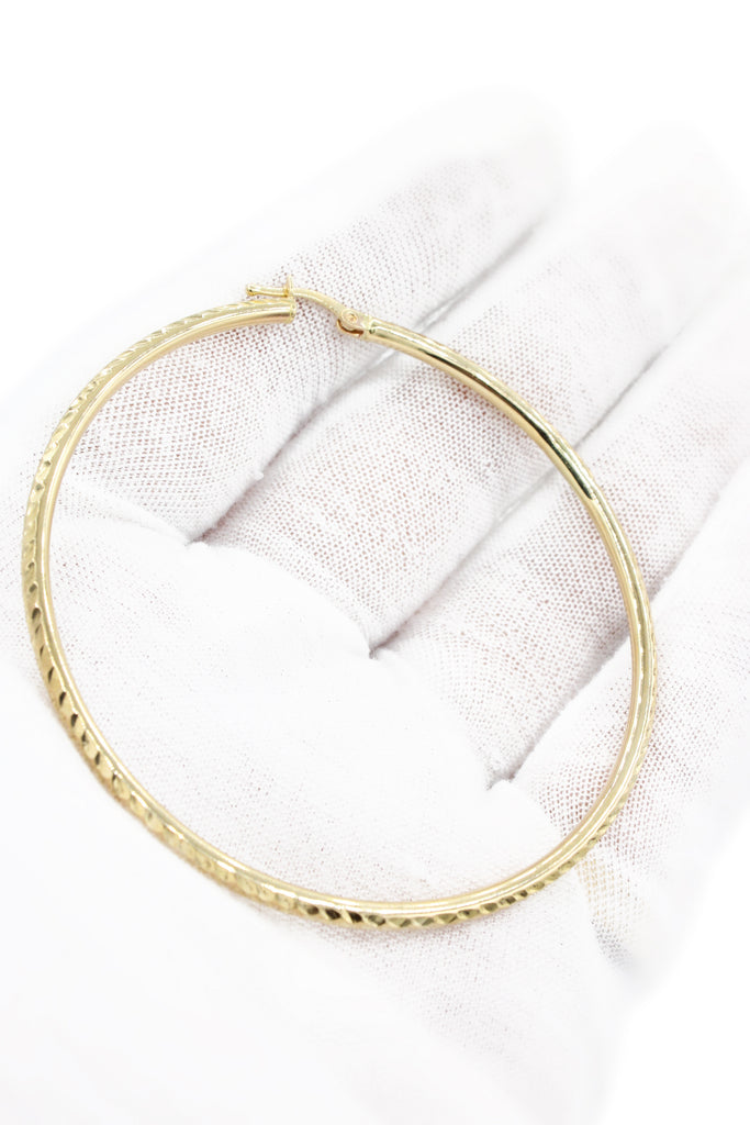 "*NEW* 14k Gold Hoops 2.4"" Inches (Diamond Cuts) - JTJ™ - Javierthejeweler"