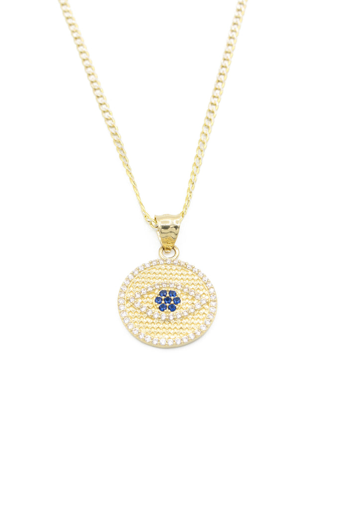 *NEW* 14K All Fatima Eye Pendant W/ Hollow Cuban Chain  JTJ™ - Javierthejeweler