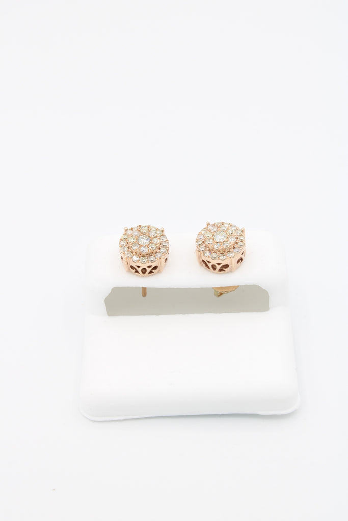 *NEW* 14k Earrings Round Rose gold 💎Diamonds💎 VS/S1  JTJ™ - - Javierthejewelernyc