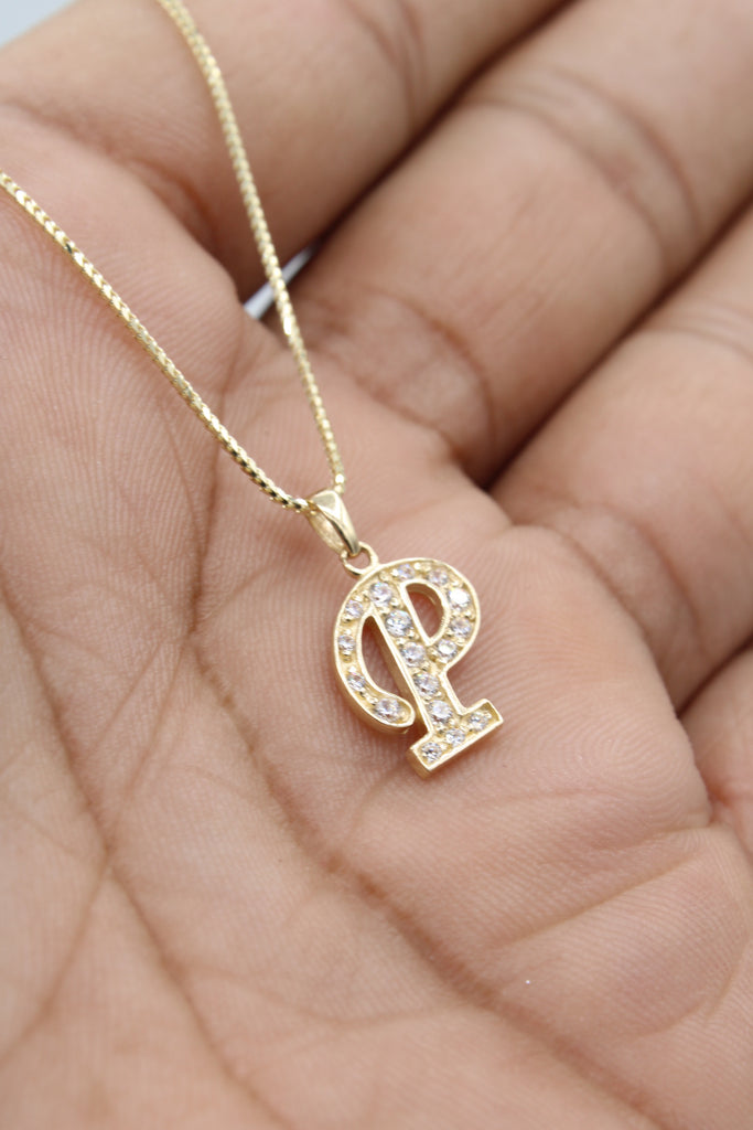 *NEW* 14K Initial (P) Pendant With Solid Franco Cut Chain JTJ™ - - Javierthejewelernyc