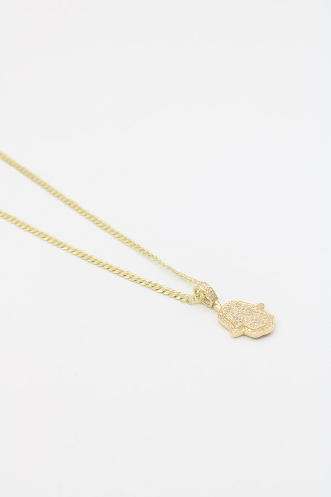 14k*NEW* VS Diamonds Pendant (hamsa) With a solid Cuban chain included JTJ™ - - Javierthejewelernyc
